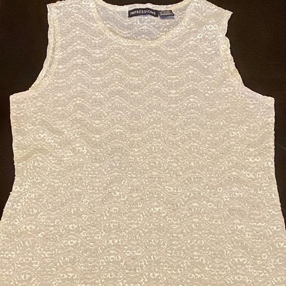 Impressions Off-White / Cream Lace Top Size Medium